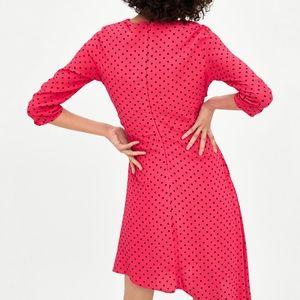 Zara Dresses - Zara GATHERED POLKA DOT DRESS Pink Fuchsia Ruched